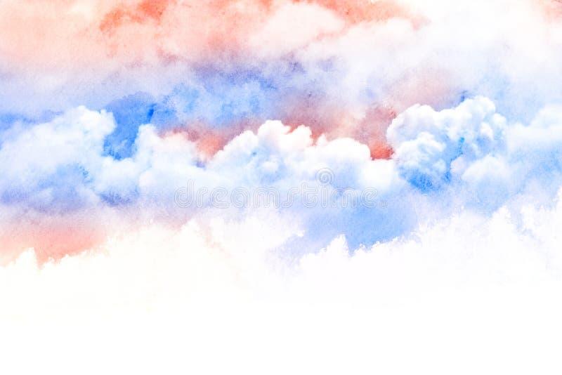 Vattenfärgillustration av molnet vektor illustrationer