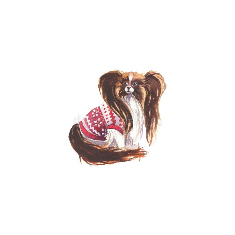 Vattenfärgillustration av papillonhunden stock illustrationer