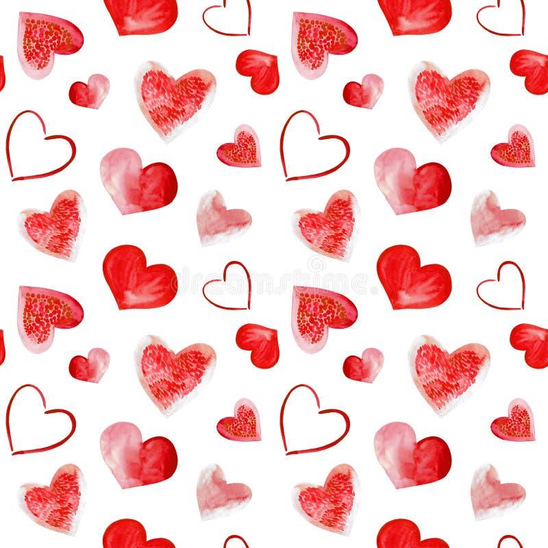 Vattenfärgillustration av röd förälskelsehjärtabakgrund Sömlös modell på vit bakgrund royaltyfri illustrationer