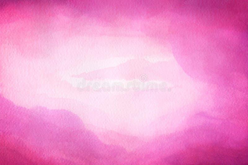 Vattenfärgillustration av röd himmel med molnet Konstnärlig naturlig målningabstrakt begreppbakgrund arkivfoto