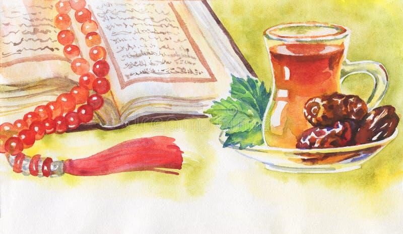 Vattenfärgillustration av ramadan kareem och ramadan mubarak Räcka utdragen muslimbakgrund av Koranen, data och te royaltyfri bild