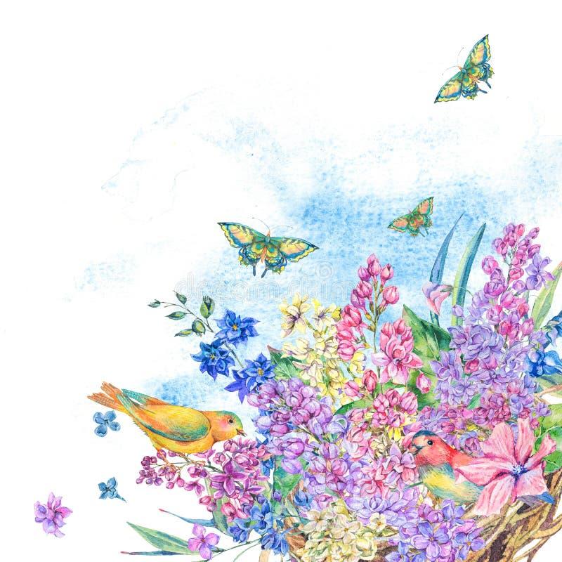 Vattenfärgillustration av redet och blommor för fågel` s vektor illustrationer