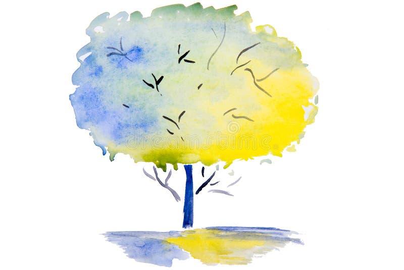 Vattenfärgillustration av trädet vektor illustrationer
