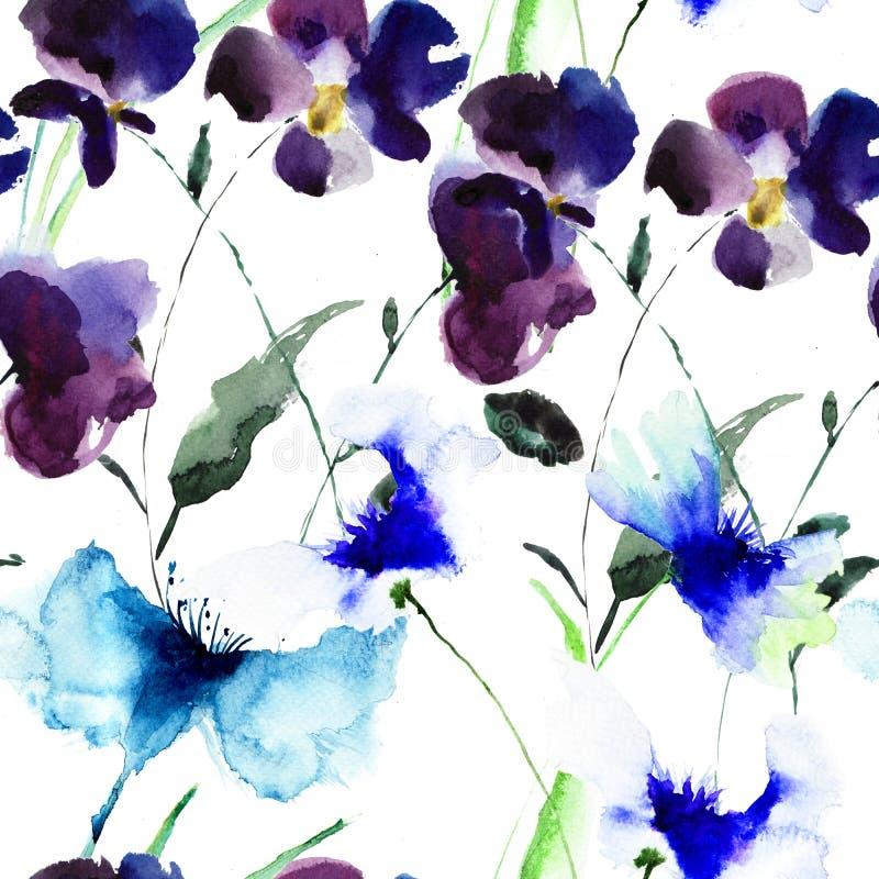 Vattenfärgillustration av violetta blommor royaltyfri illustrationer