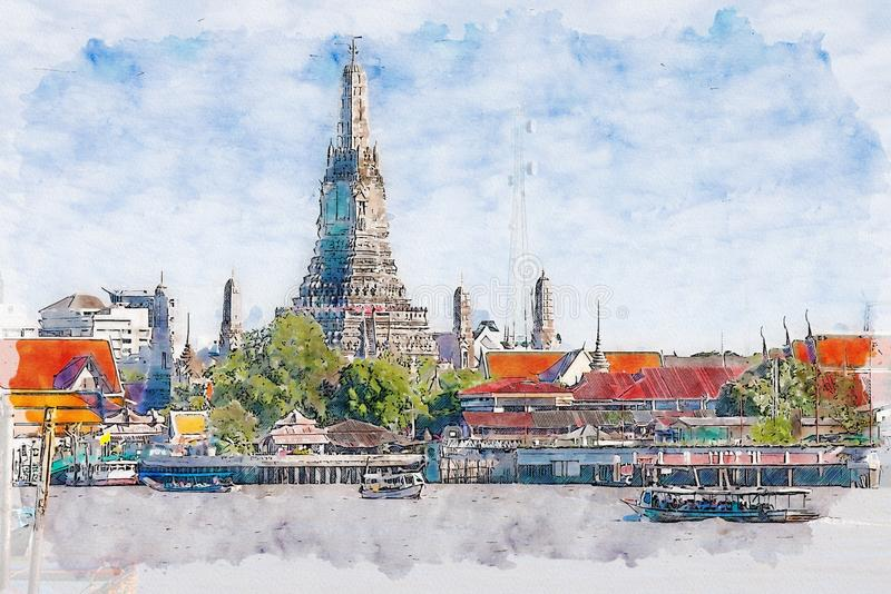 Vattenfärgillustration av Wat Arun, Bangkok, Thailand stock illustrationer