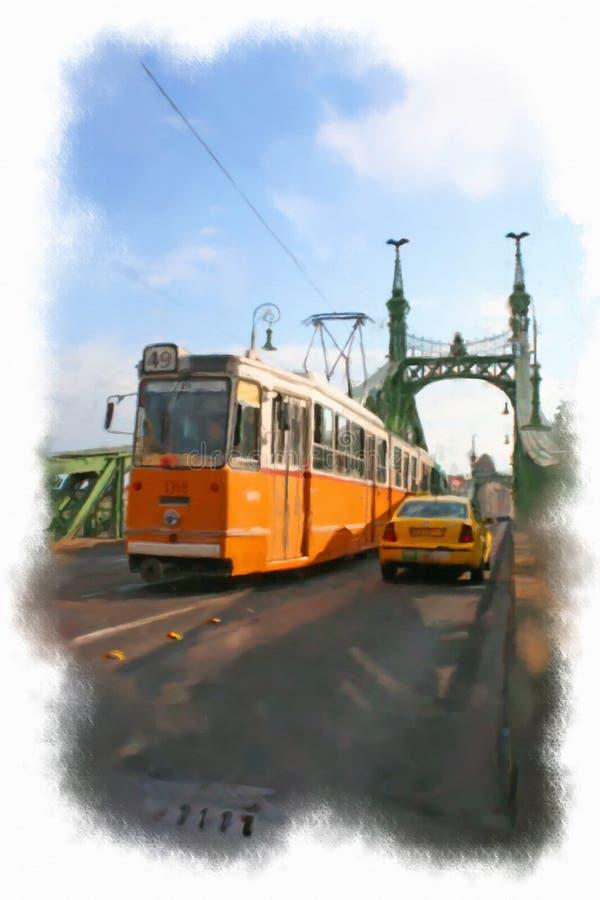 Vattenfärgillustration Budapest arkivfoton