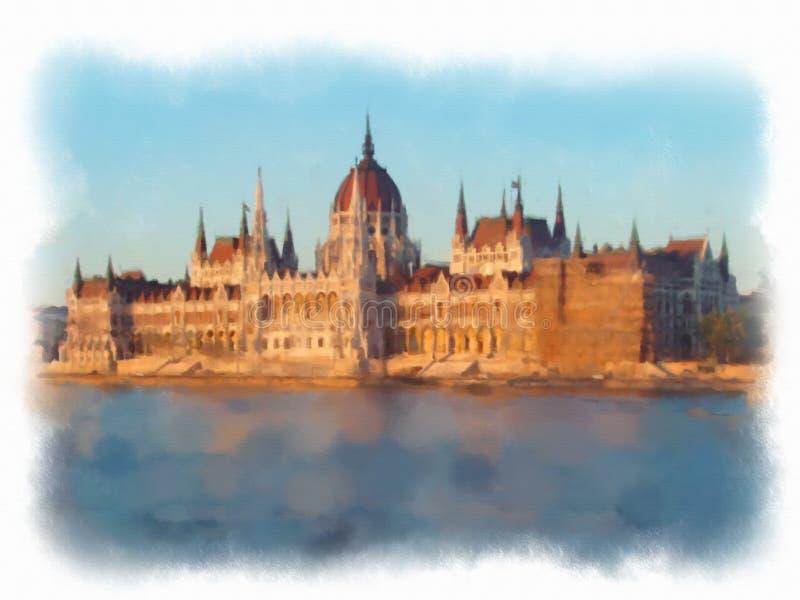 Vattenfärgillustration Budapest arkivfoto