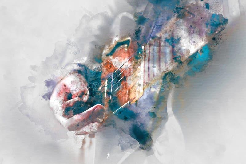 Vattenfärgillustration för elektrisk gitarr vektor illustrationer