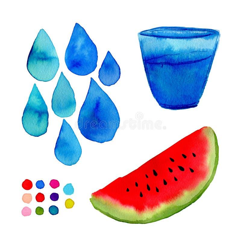 Vattenfärgillustration för garneringar Räcka målarfärgkonst med vattenmelon, exponeringsglas och droppar vektor illustrationer