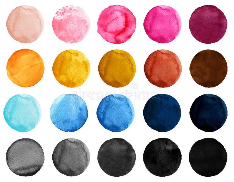 Vattenfärgillustration för konstnärlig design Rundafläckar, klickar av blått, rosa färger, guling, svart och brunt färgar vektor illustrationer
