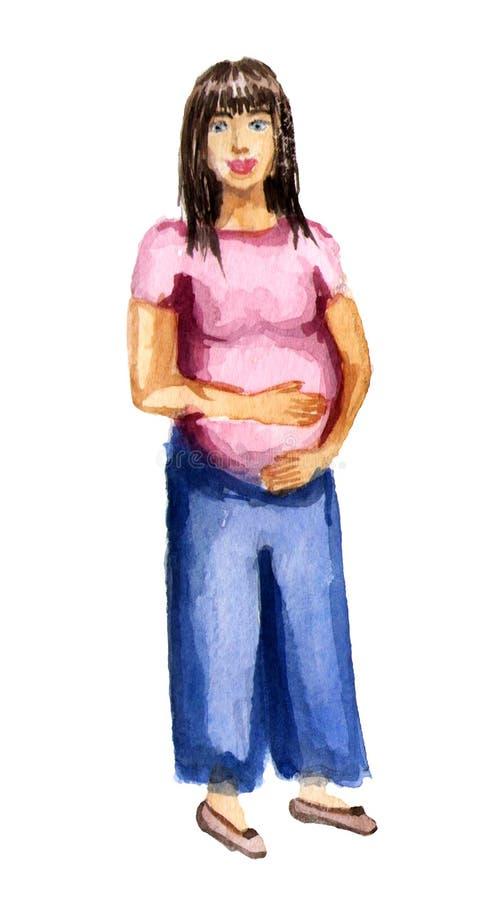 Vattenfärgillustration, gravid kvinna, lycklig moderdag stock illustrationer