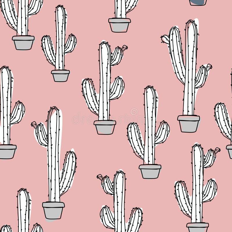 Vattenfärgillustration - kaktus i en kruka vektor illustrationer