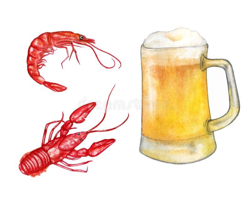 Vattenfärgillustration med öl och havsmat R?ka och kr?fta stock illustrationer