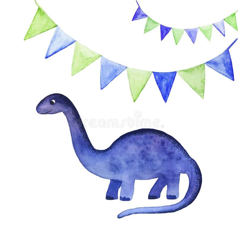 Vattenfärgillustration med den gulliga dinosaurien och festliga flaggor som isoleras på vit bakgrund royaltyfri illustrationer