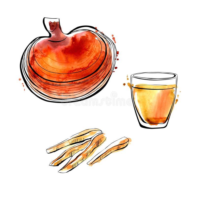 Vattenfärgillustration med den superfoodReishi champinjonen vektor illustrationer