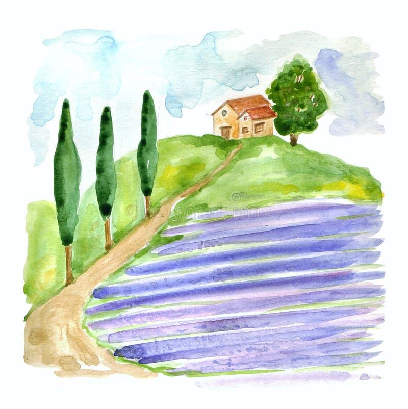 Vattenfärgillustration med det Tuscan landskapet med lavendelfältet och landshuset i Europa royaltyfri illustrationer