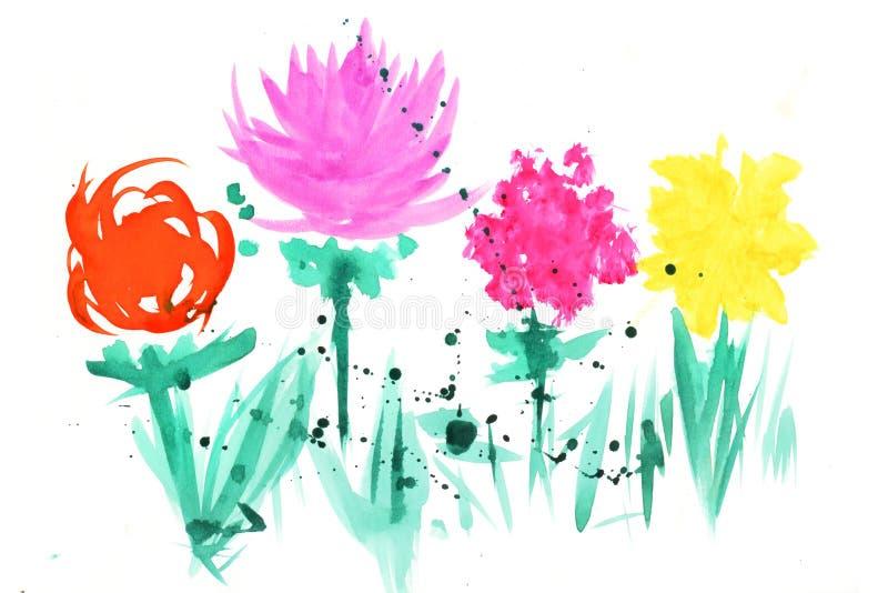 Vattenfärgillustration med färgrika abstrakta blommor royaltyfri fotografi