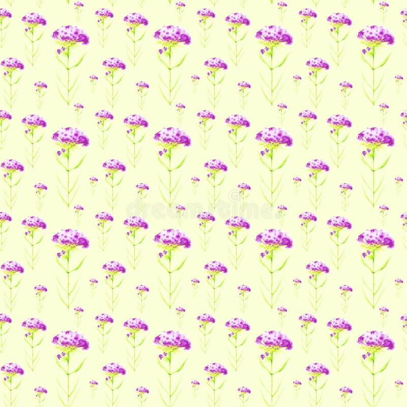 Vattenfärgillustration med härliga abstrakta purpurfärgade blommor Isolerat p? gr?n bakgrund seamless modell stock illustrationer
