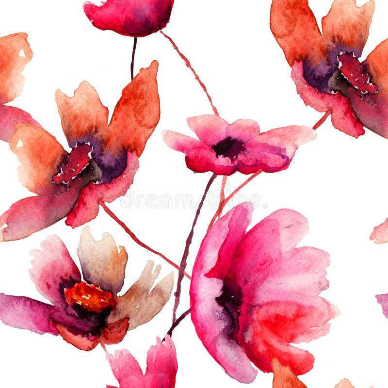 Vattenfärgillustration med härliga blommor royaltyfri illustrationer