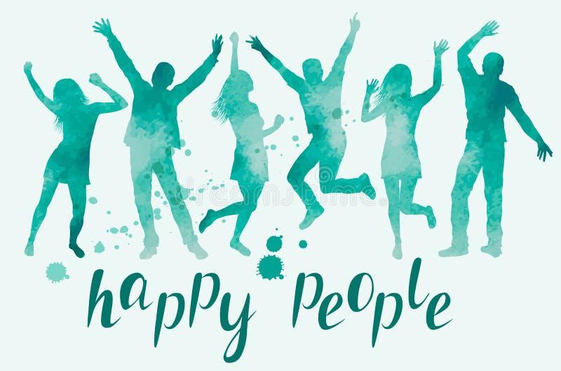 Vattenfärgillustration med lyckliga folkkonturer royaltyfri illustrationer