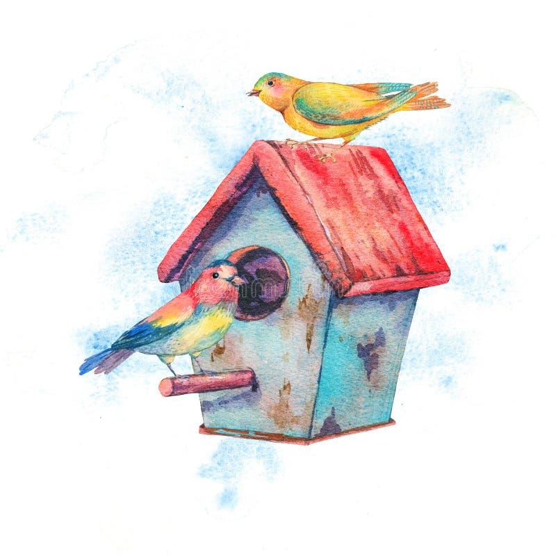 Vattenfärgillustration med voljären och par av fåglar royaltyfri illustrationer