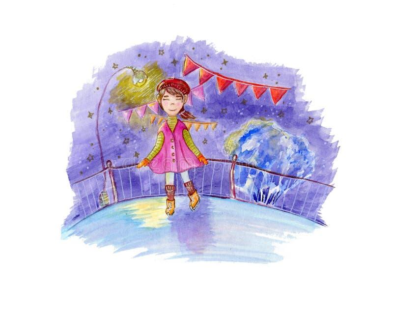 Vattenfärgillustration om lilla flickan som åker skridskor på en isisbana på vinternattlandskapen royaltyfri illustrationer