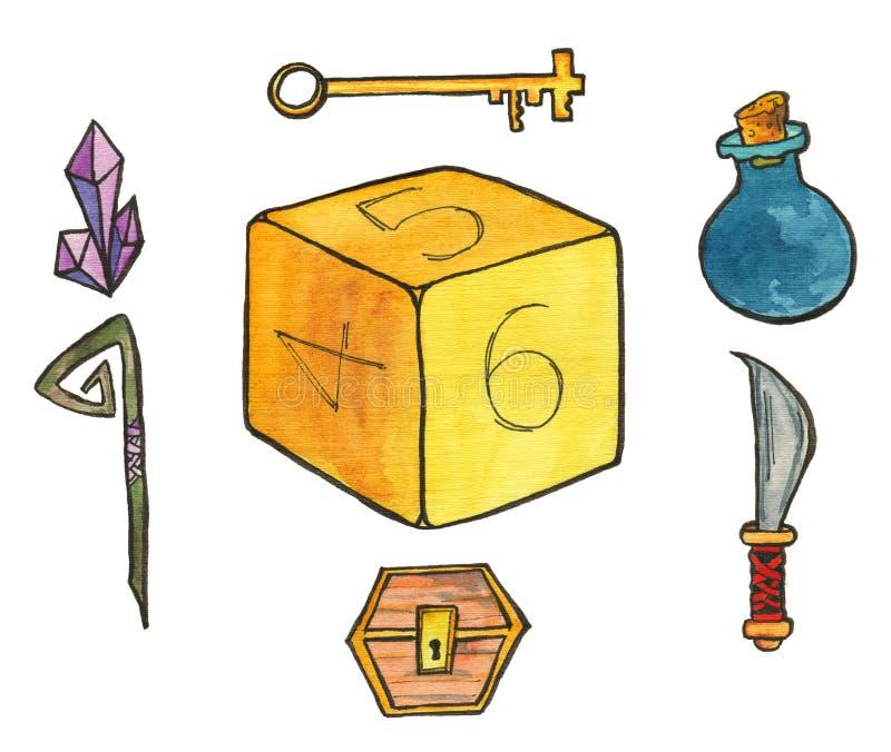 Vattenfärgillustration: Utrustning för rollen som spelar lekar Tärnar kristaller, flaska med magisk dryck, personalen, kniv vektor illustrationer
