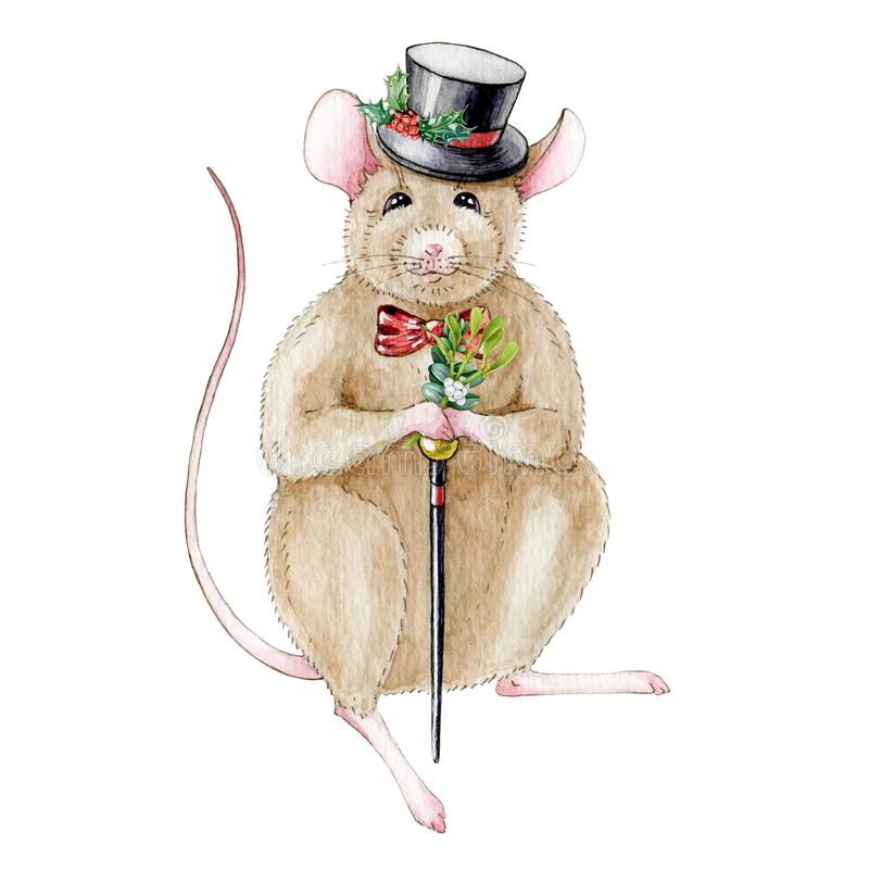Vattenfärgillustrationen av en mus tjaller i en rolig hatt som dekoreras med järneksidor och en rotting bakgrund isolerad white stock illustrationer