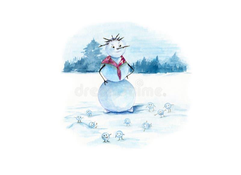 Vattenfärgillustrationen av en snowwoman med mycket litet roligt kastar snöboll på en vit snöig bakgrund stock illustrationer