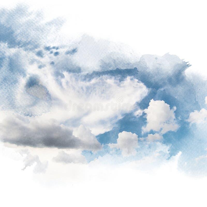 Vattenfärgillustrationen av himmel med molnet retuscherar royaltyfri illustrationer