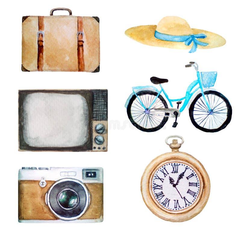 Vattenfärgillustrationen av retro tappningobjekt, gamla symboler av hatten, resväskan, tv, cykeln, fotokamera, stoppa i fickan  fotografering för bildbyråer