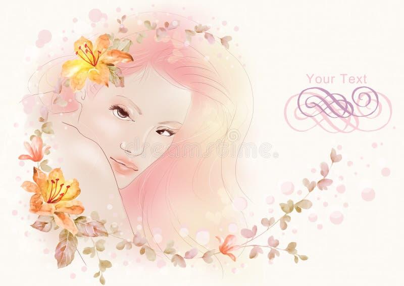 Vattenfärgillustrationen blommar och ståenden av den härliga kvinnan i enkel bakgrund vektor illustrationer
