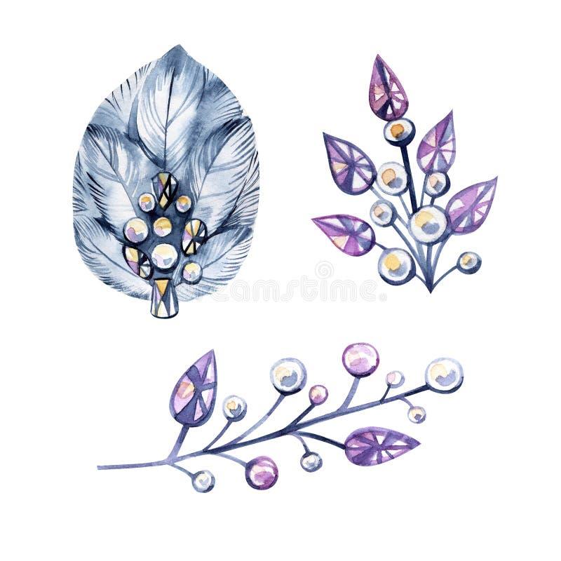 Vattenfärgillustrationen med bijouterie, försilvrar smycken Kristaller pärlor, fjädrar Det kan användas för kortet, vykort stock illustrationer