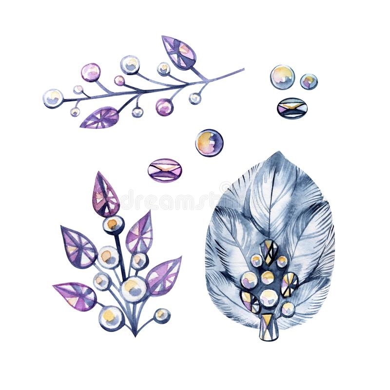 Vattenfärgillustrationen med bijouterie, försilvrar smycken Kristaller pärlor, fjädrar Det kan användas för kortet, vykort vektor illustrationer