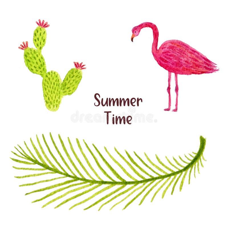 Vattenfärgillustrationuppsättning av det tropiska bladet, flamingofågeln och kaktuns Kan användas för tryck och semesterdesigngar royaltyfri illustrationer