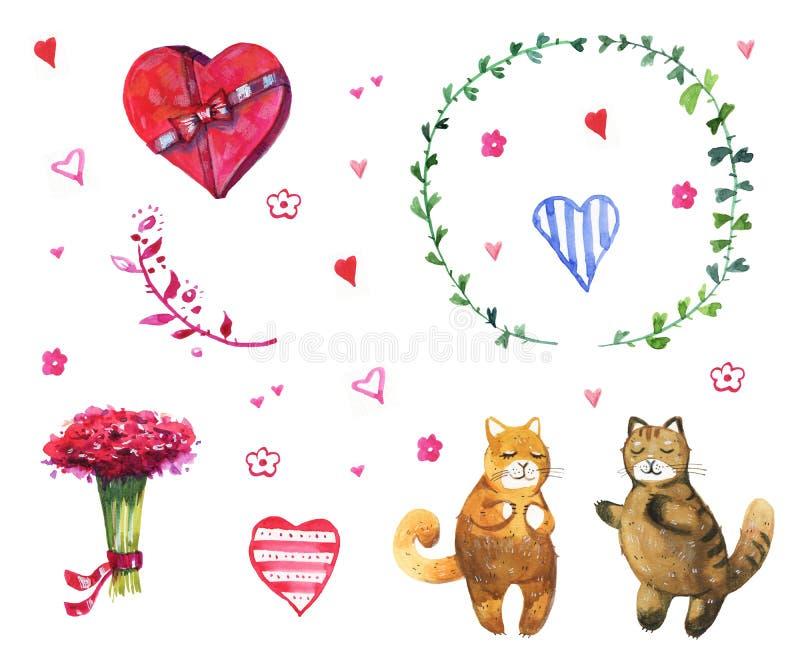 Vattenfärgillustrationuppsättning med två katter och hjärtor stock illustrationer
