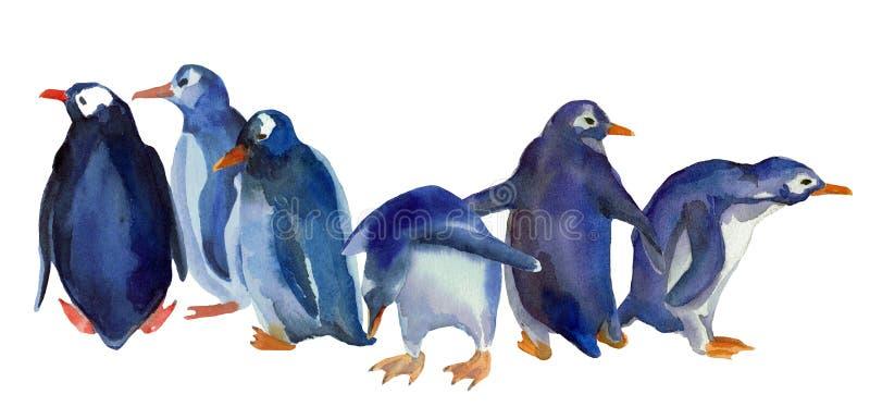 Vattenfärgilustration av blåa pingvin för familjgrupp vektor illustrationer