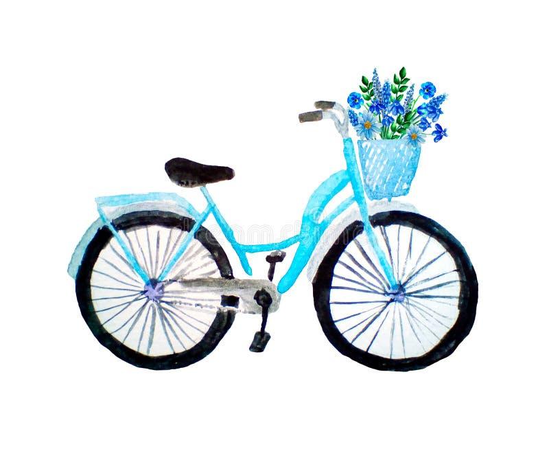Vattenfärgilustration av den blåa retro cykeln med blommor i en korg som isoleras på vit royaltyfria foton
