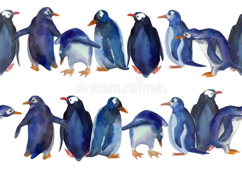 Vattenfärgilustration av gränsen av blåa pingvin vektor illustrationer