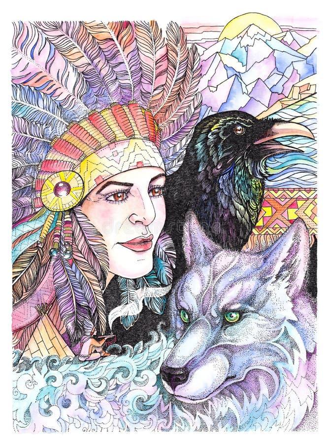 Vattenfärgindian, krigare med vargen och korpsvart vektor illustrationer