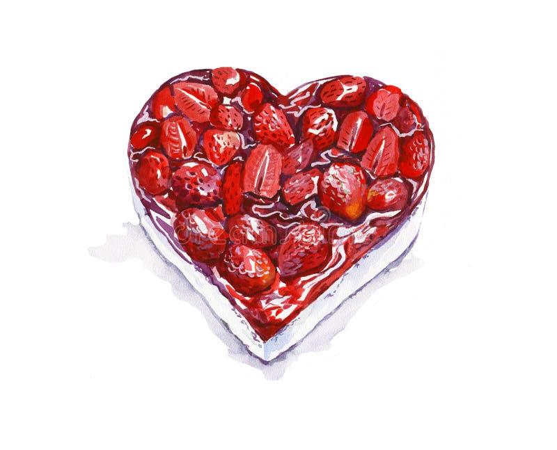 Vattenfärgjordgubbekaka i formen av en hjärta greeting lyckligt nytt ?r f?r 2007 kort valentin f?r dag s royaltyfri illustrationer