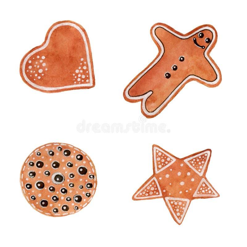 Vattenfärgjul ställde in av kakor med pepparkakamannen, stjärnan, hjärta, en cirkel på vit bakgrund stock illustrationer