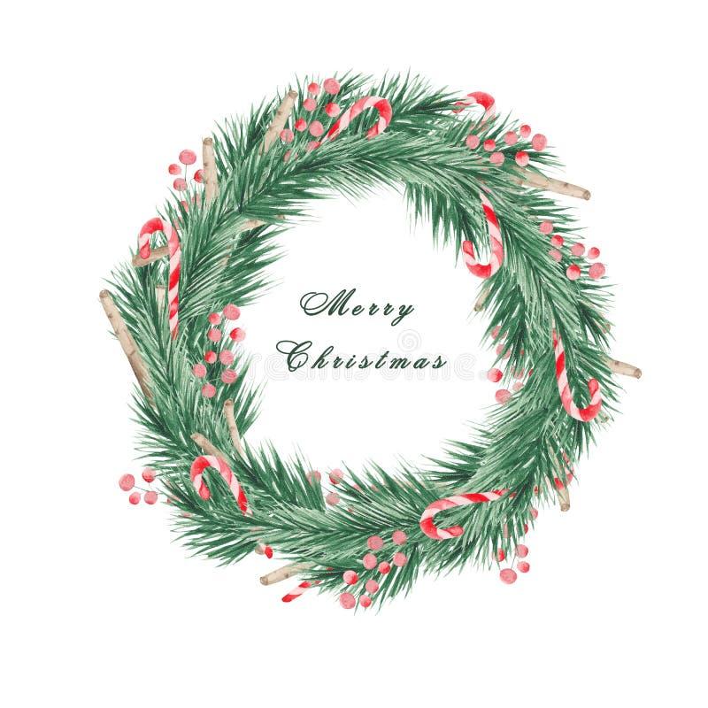 Vattenfärgjul ställde in med filialer av en julgran, bollar, sötsaker, en tumvante och en socka för gåvor royaltyfri illustrationer