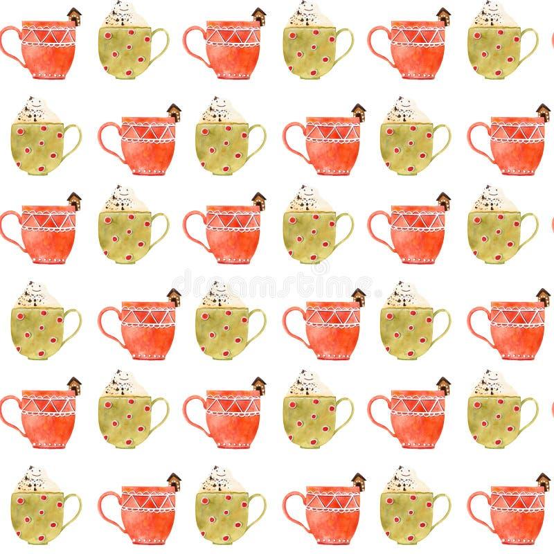 Vattenfärgjul te eller sömlös modell för kaffe stock illustrationer