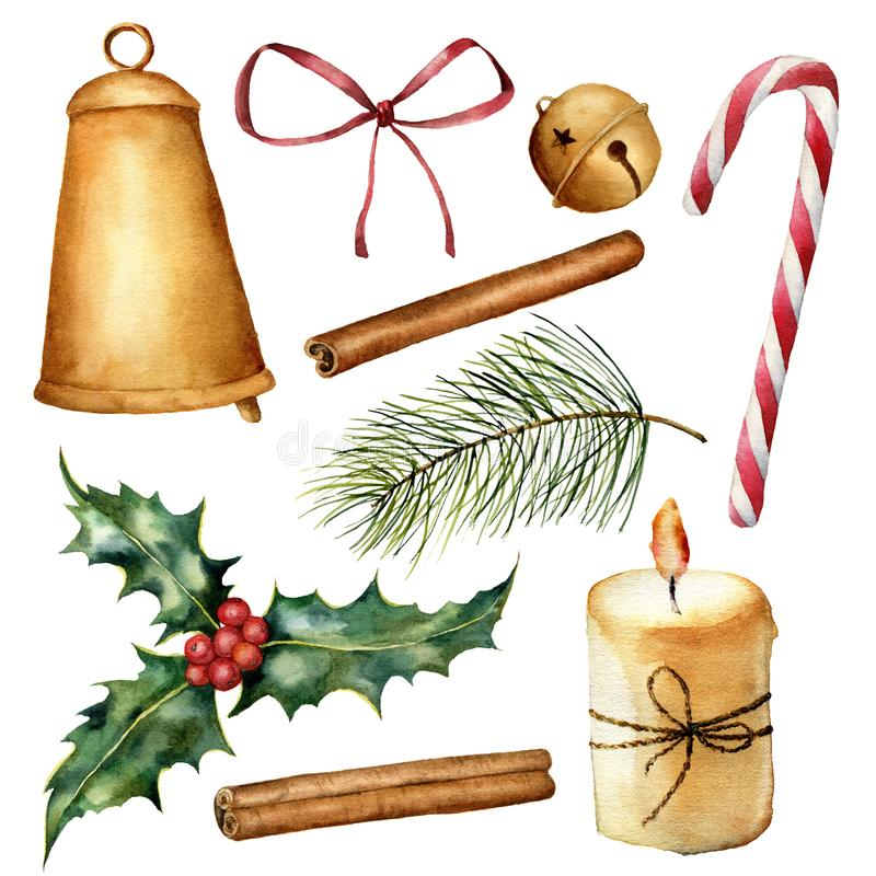 Vattenfärgjul växt och dekoruppsättning Hand målad stearinljus, järnek, klockor, pilbåge, kanel, godisrotting, julträd royaltyfri illustrationer