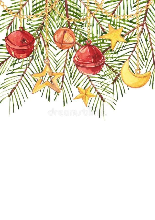 Vattenfärgjulgranfilialer med ett halvmånformig, en stjärna och klockor hänger på guld- kedjor Kulör vertikal rektangel royaltyfri illustrationer