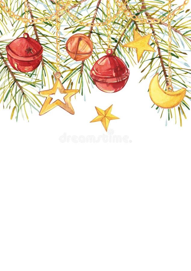 Vattenfärgjulgranfilialer med ett halvmånformig, en stjärna och klockor hänger på guld- kedjor Kulör vertikal rektangel vektor illustrationer