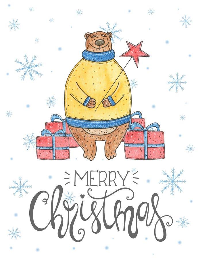Vattenfärgjulkort med björnen och att märka glad jul royaltyfri illustrationer