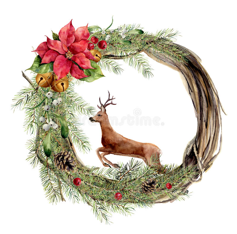 Vattenfärgjulkrans med den blom- dekoren och hjortar nytt år stock illustrationer