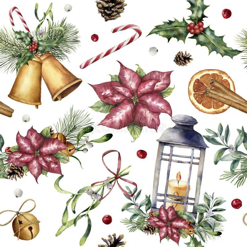 Vattenfärgjulmodell med den traditionella dekoren Räcka den målade lyktan, snowberryen, klockor, stearinljuset, mistel, kanel vektor illustrationer